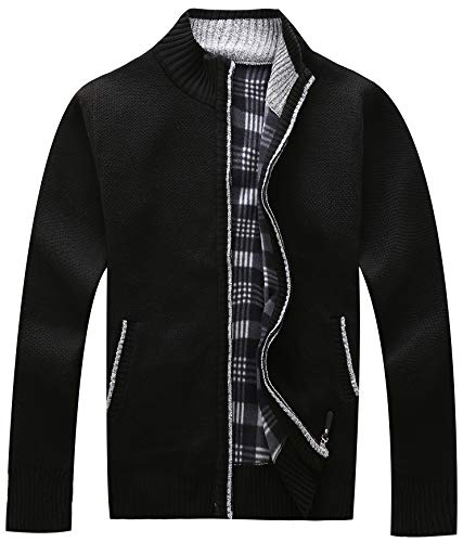 Full Zip Long Sleeve Sweater - Vcansion Men's Classic Long Sleeve Full Zip Plus Warm Knitted Wool Cardigan Sweaters Jacket Coats Black US XXL
