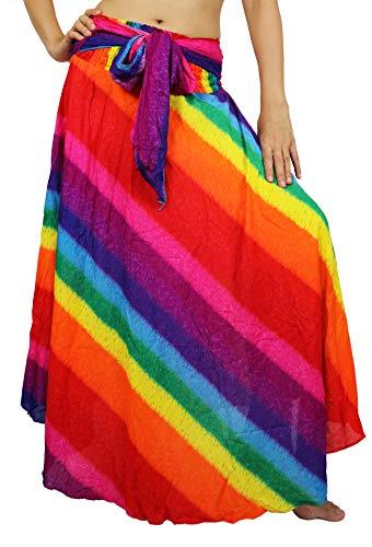 Lovely Creations Women Long Bohemian Maxi Skirts Midi Dress US Size 0-18 (Rainbow Pink) ()
