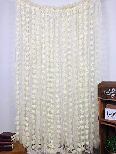 LACE and Chiffon flower Garlands,Strand boho Curtain Ceremony Backdrop,Wedding Decorations,Wedding shabby chic photo booth