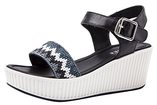 2 Ring Creeper Sneaker (CAIHEE Women's Summer Casual Metal Decorative Strap Fashion High Platform Sandals (7.5 B(M)US,black) (7.5 B(M) US, Black))