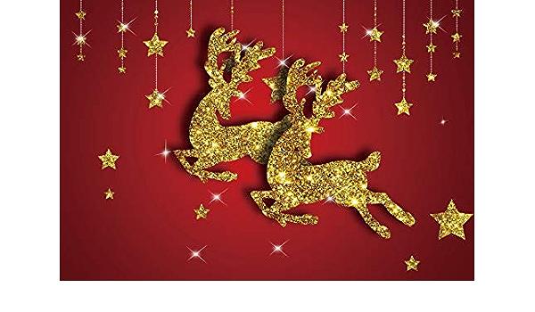 Vinyl 9x6ft Blue Backdrop Photography Background Merry Christmas Gold Sparking Stars Golden Elk Festival Party Room Wallpaper Children Baby Adults Portrait Photo Studio