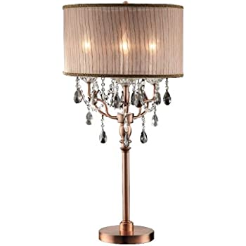 Duval Cottage Table Lamp Crystal Antique White Candlestick