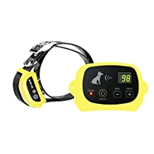 Outdoor Wireless Containment Pet Supplies Electronic Dog Yard 100 Levels Portable Wireless Dog Fence System with Shock Rechargeble and Waterproof Training Collar for Dog Cat (1.One Dog Fence, Yellow)