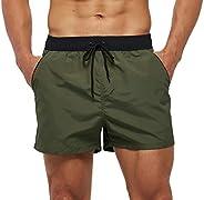 SILKWORLD Men's Quick Dry Swim Trunks Solid Swimsuit Sports Shorts with Back Zipper Poc