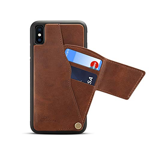 iPhone Xs Max Wallet Case, CHYUAN iPhone Xs Max Credit Card Slot Holder Case, Leather Magnetic Closure Wallet Case for iPhone Xs Max 6.5 inch with Gift Box Package (Brown)
