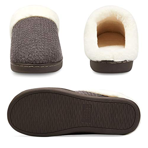 Comfort Slipper Gray House Indoor Women's Anti Plush Khaki Memory Foam VIFUUR Slip Slippers OIBqwvxR