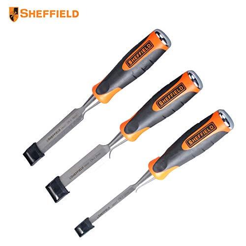 Sheffield S080301 3Pcs CR -V 12-25mm Woodworking Chisel Set Chrome Vanadium Steel Repair Hand Tools Striking Wearable ()