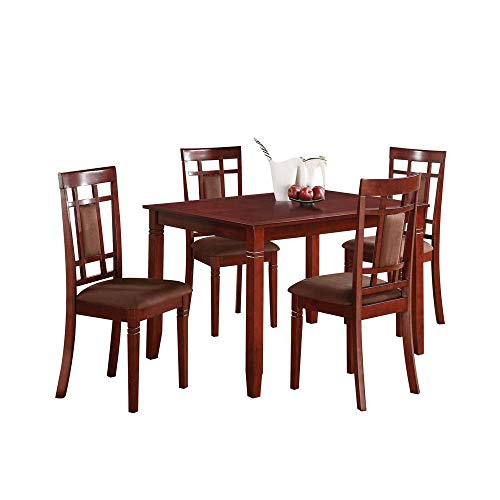 Major-Q 5Pc Pack Transitional Style Contemporary Set with Cherry Finish Dining Table and Chocolate Microfiber Padded Cushion Side Chairs, 9071164