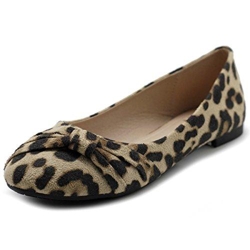 Ollio Women's Shoe Ballet Faux Suede Flat ZM1815 (9 B(M) US, Leopard)]()