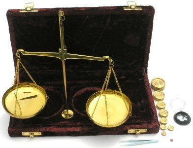 Collectible Badges 100 + Gram Brass Balance Scale in Case with Weights
