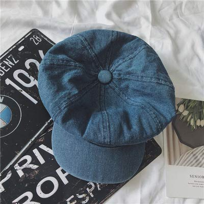 Junson Lovely Wild Casual Washed Denim Newspaper hat Fashion Retro Duck Tongue Octagonal Cap Female Summer Beret (Color : Blue) for Winter (Color : Dark Blue)