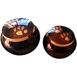 Odyssey Raku- Copper- Brass Double Paw Print Medium Pet Memorial Urn