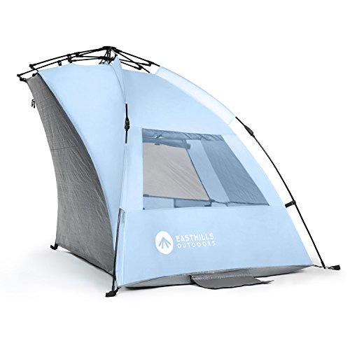 Easthills Instant Shade - Easy Pop up Beach Tent, Portable UV Sun Shelter - Changing Room Design Included - Pegs, Guy Lines, Sand Pockets (Blue)
