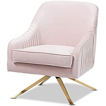 Amazon Com Baxton Studio Amaya Light Pink Velvet Gold