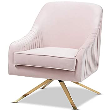 Baxton Studio Amaya Light Pink Velvet Gold Finished Base Lounge Chair by Baxton Studio