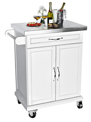 VIPEK Wood Kitchen Trolley Cart on Wheels Heavy Duty Storage Rolling Trolley Kitchen Island Table Mobile Utility Serving Cart with Stainless Steel Top Storage Cabinet Drawer and Towel Rack, White