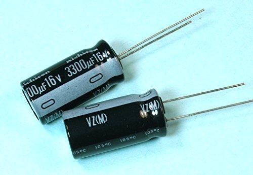 - (FG #67) 4pcs Nichicon VZ 3300uf 16v 105C Radial Electrolytic Capacitor 12.5mmX25.5mm