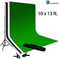 Limo10 X 13 Ft Muslin Backdrop  Green Chromakey And White / Black 100% With 10 X 13 Ft Backdrop Support Kit Combo