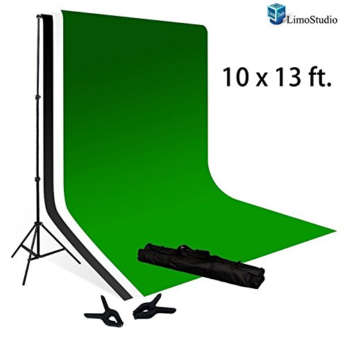 LimoStudio 10 x 13 Foot Muslin Backdrop Background Green Chromakey and White / Black 100 Percent with 10 x 13 Foot Backdrop Support Kit Combo, AGG392 by LimoStudio