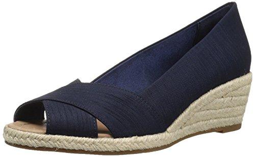 8 Wedge Espadrille - 206 Collective Women's Braylon Open-Toe Low Espadrille Wedge Sandal, Navy Silk, 8 B US