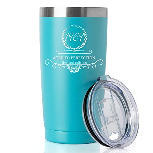 1969 50th Birthday Gifts for Women and Men Tumbler, Party 50th birthday decorations, Best Anniversary Presents Ideas Him Her Husband Wife Mom Dad, 20oz Stainless Steel Tumbler (Turquoise, 1969) ()