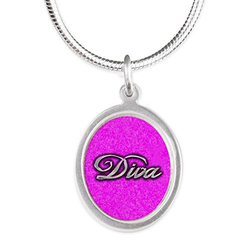 Silver Oval Necklace Pink Diva Princess by Royal Lion