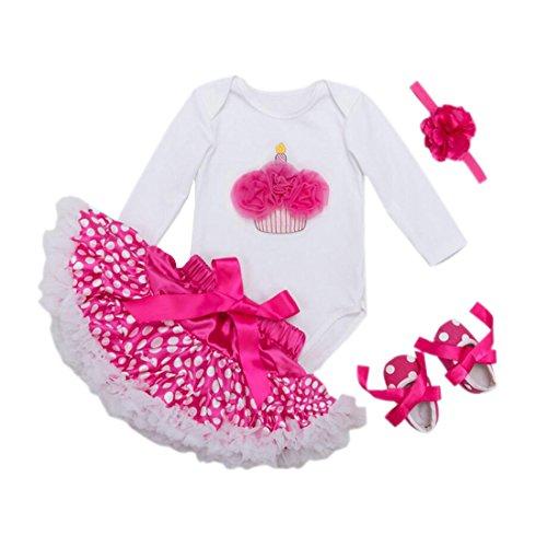 Marlegard Baby Girls' 1st Birthday Romper Polka Dots Skirt Headband Shoes (Hot Cake, (Polka Dots Satin Headband)