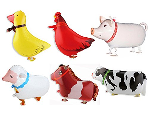 Pack of 6 Walking Animal Balloons Farm Animal Balloon Birthday Party BBQ Party Décor(Pony,Duck,Rooster,Cow,Pig,Sheep) by Rose&Wood