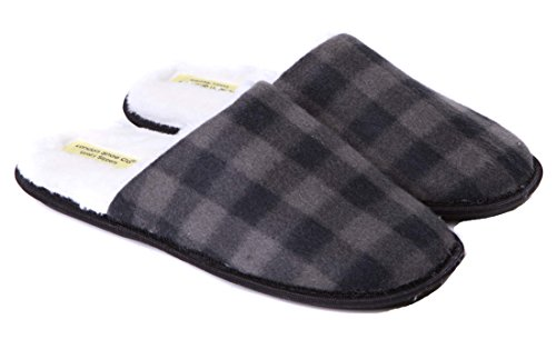 Mens Premium Slippers Slip On Design with Fur Lining Size 6 to 13 UK - Hard & Flexible Sole Grey 5wNLHT