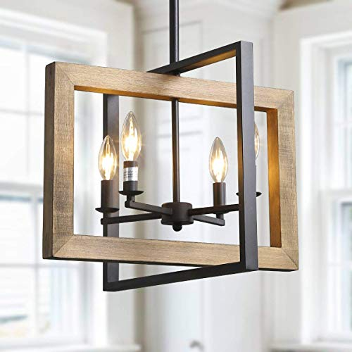 Log Barn 4 Lights Country Chandeliers, Farmhouse Kitchen Island Pendant Lighting in Distressed Wood and Matte Black Metal Finish, 18