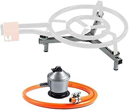 Garcima - Set paellero Gas Bricolemar (Soporte Universal sobremesa Garcima + regulador Gas butano Kabra + Manguera butano Kabra)