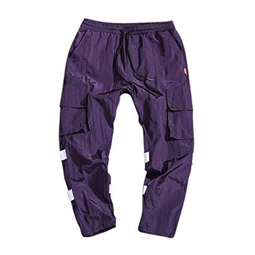 Logobeing Pantalones Deporte Hombre Chandal Polyeste Jogging Pantalones Multibolsillos De Secado Total Trabajo Pantalones de Montar a Caballo Hombre Morado