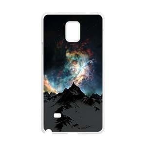 {Funny Series} Samsung Galaxy Note 4 Case Nebula over Mountain, Funny Design Case Okaycosama - White