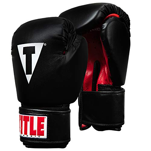 Leather Aerobic Boxing Gloves - Title Classic Boxing Gloves, Black/Red, Regular, 12 oz