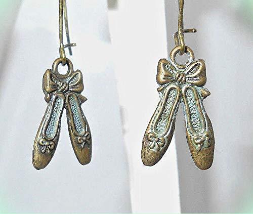 two-sided 3-D Ballet Slippers Shoes Bronze-tone Dangle Earrings 1-5/8