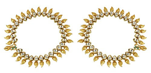 MUCHMORE Girls Ethnic Fashion Gold Tone Kundan Stone Payal Anklet Party wear Indian Jewellry by Muchmore