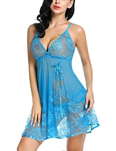 Avidlove Lingerie for Women Plus Size Lace Babydoll Night Sexy Dress Light Blue