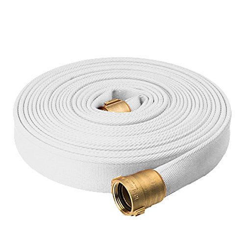 North American Fire Hose PR15X75PPRN Corporation Rack and Reel Fire Hose, White, 1-1/2'' ID, 75', 750 psi Burst Pressure, M x F NST Brass Connectors, 600 psi, Polyurethane/Rubber/Brass