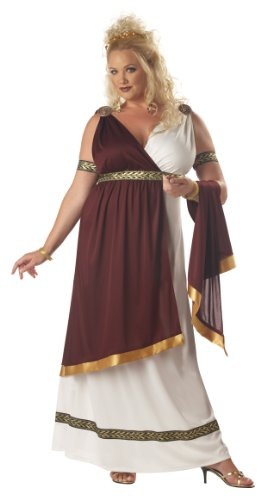 California Costumes Women's Roman Empress Costume, White/Burgundy, 2XL