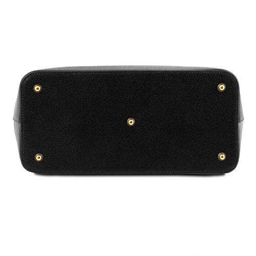 Borsa Leather A Mano Rosso Tuscany Saffiano Nero In Tlbag Pelle pgZ116qw