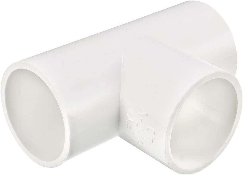 uxcell 40mm Slip Tee PVC Pipe Fitting T-Shaped Coupling Connector 2 Pcs
