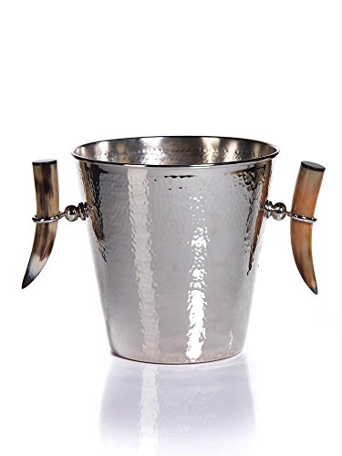 ''Karima'' 11.25'' Tall Stainless Steel Ice Bucket with Handles, Silver by Zodax