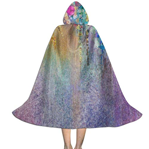 Watercolor Painting Abstract Floral Kids Costumes Capes Cloak with Hood for Halloween Party Ages 2 to ()