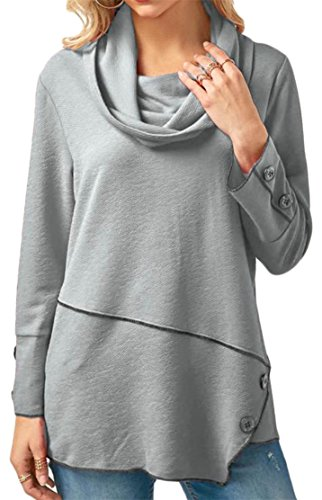YUNY Womens Loose Fit Button Irregular Cowl Neck Top Blouse T-Shirt Gray - Roof Cowl