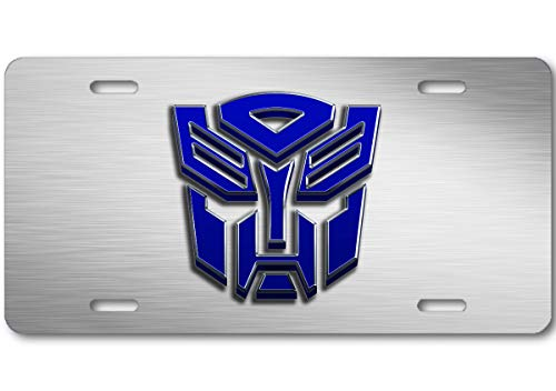 Aluminum Transformer - Voss Collectables Transformers Autobot Stone Logo Aluminum Car Truck License Plate Tag Steel Blue
