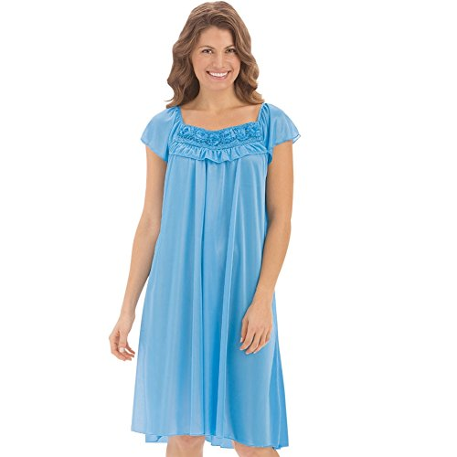 Collections Etc Women's Short Sleeve Gathered Bodice Gown, Light Blue, Medium (Gathered Nightgown)