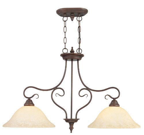 Vintage Bronze Island - Livex Lighting 6132-58 Island Pendant with Vintage Scavo Glass Shades, Imperial Bronze