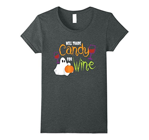 Halloween Tombstone Quotes (Womens Will Trade Candy For Wine Funny Halloween Quote T-Shirt Medium Dark Heather)