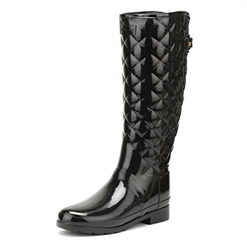 Womens Hunter Refined Tall Quilted Black Gloss Wellies Wellington Boots SIZE 8