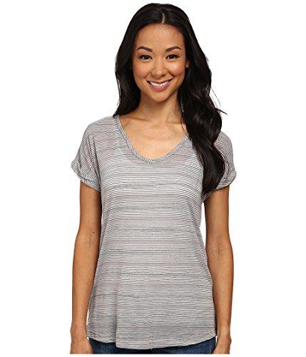 Allen Allen Women's Stripe Short Sleeve Tee Light Grey T-Shirt MD (Women's (Allen Allen Short Sleeve T-shirt)
